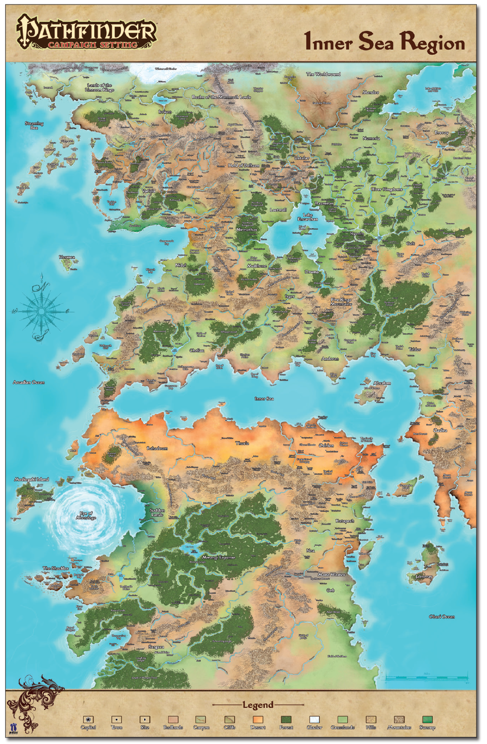 Pathfinder Tales Map of Inner Sea Region